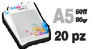 Blocco f.to A5 da 50ff su uso mano 80gr st. colori con sottoblocco