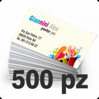 Biglietti da visita 85x55 mm stampati a colori su carta patinata avorio 300gr solo fronte.